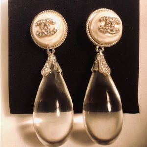 Silver Pearl Lucite Crystal Dangle Drop Earrings